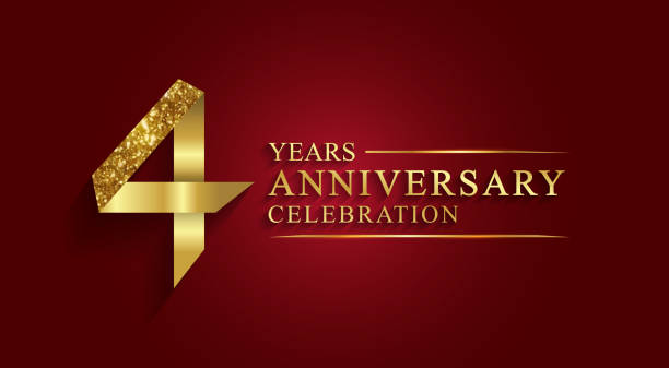 4 years anniversary gold foil style. vector art illustration