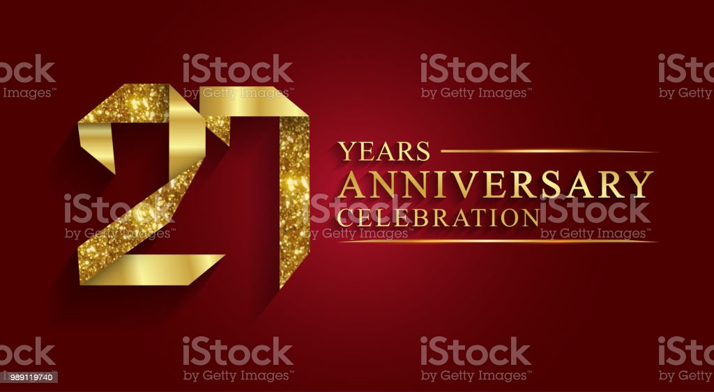 27 Jaar Verjaardag Goud Folie Stijl Stockvectorkunst En Meer Beelden