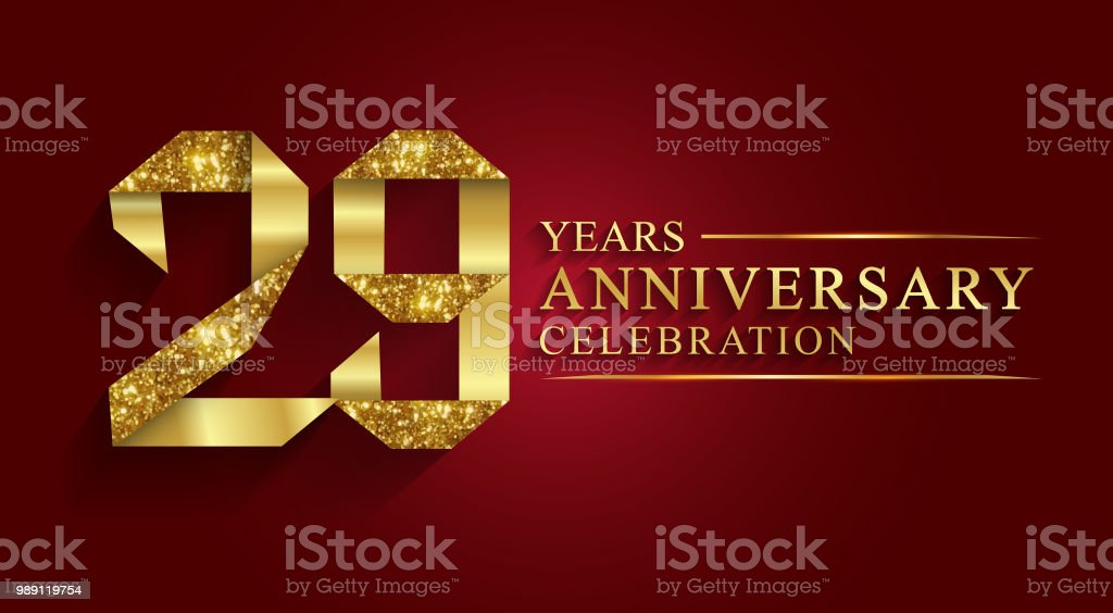 29 years anniversary gold foil style. vector art illustration