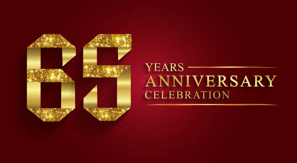 65 years anniversary gold foil style. vector art illustration