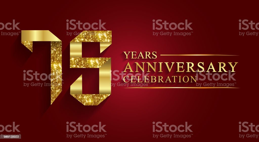 75 years anniversary gold foil style. vector art illustration