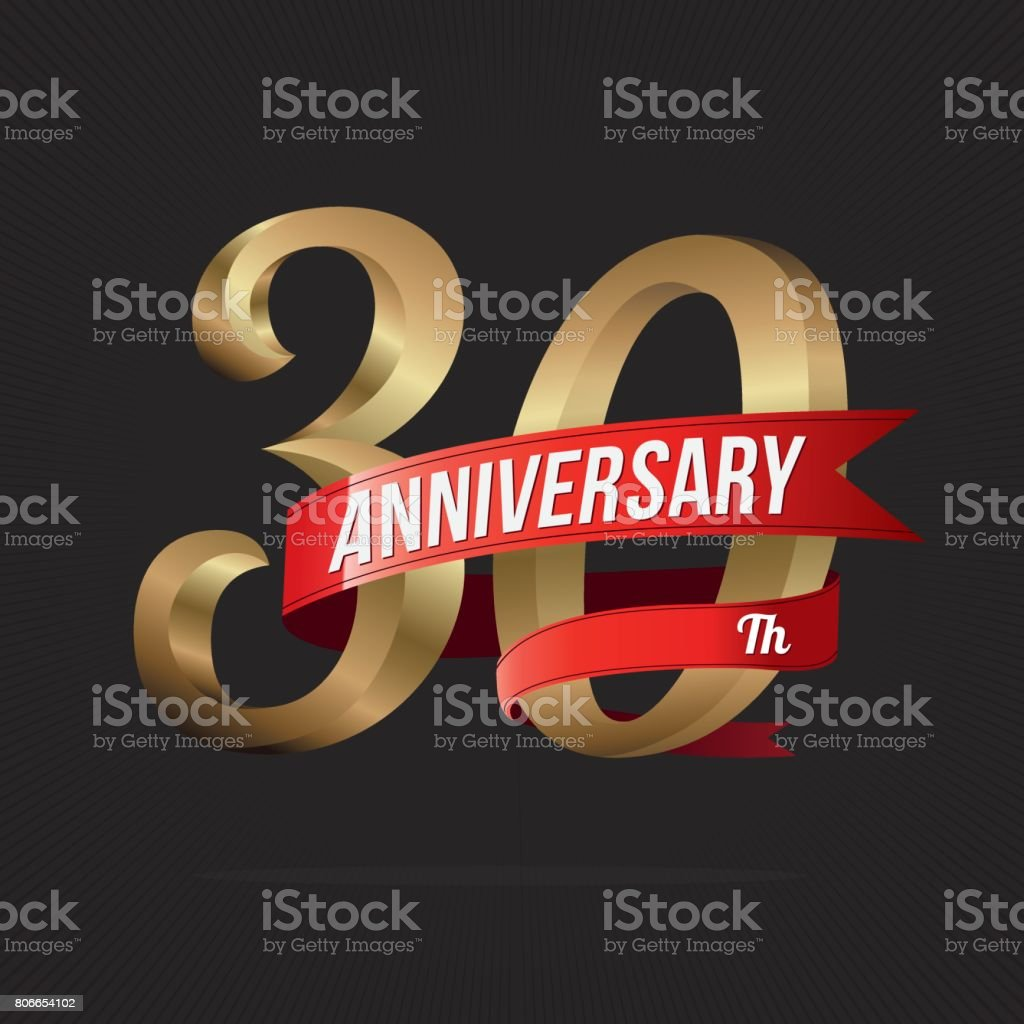 30 Years Anniversary Golden icon Celebration with Red Ribbon vector art illustration