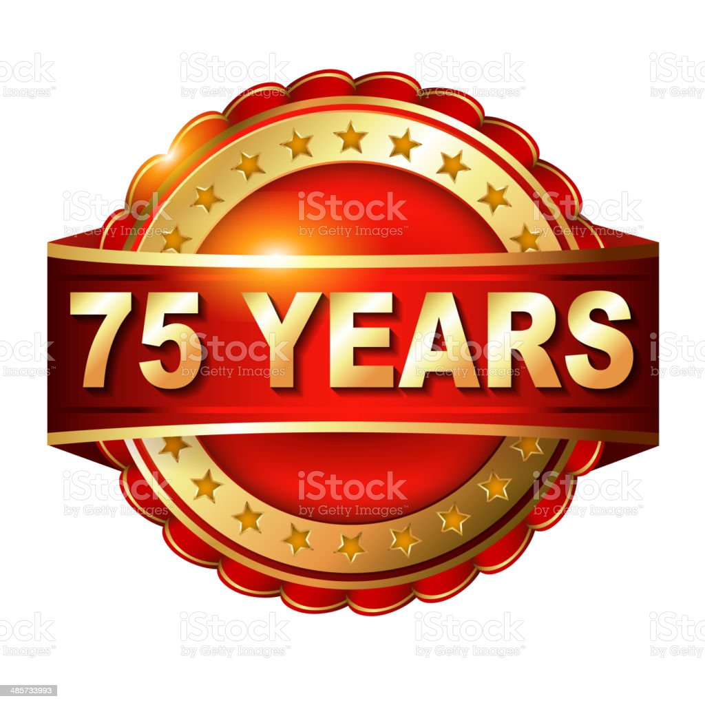 75 years anniversary golden label vector art illustration