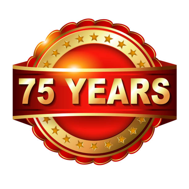 75 years anniversary golden label vector art illustration