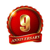 9 years anniversary golden label with ribbon.
