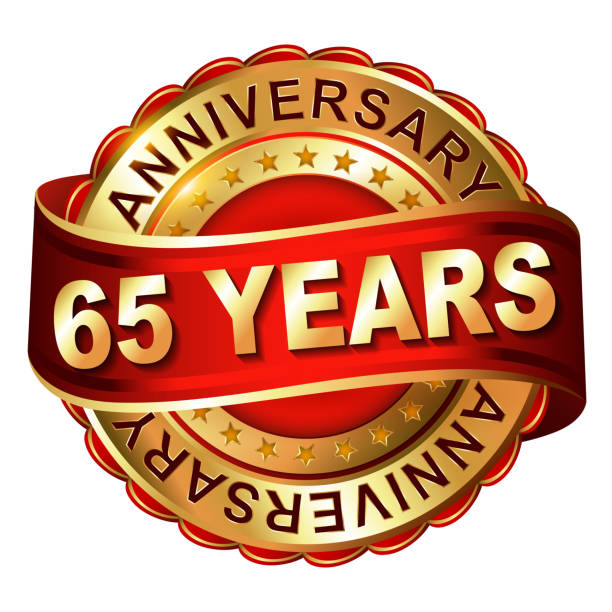 65 years anniversary golden label with ribbon. vector art illustration