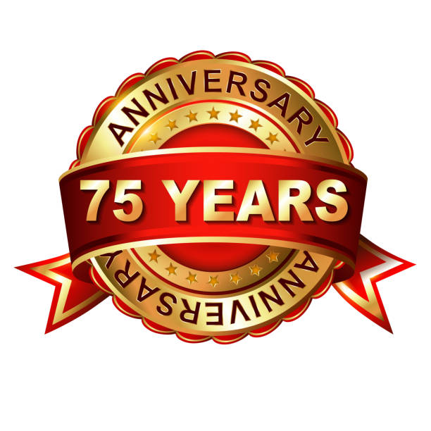 75 years anniversary golden label with ribbon. vector art illustration