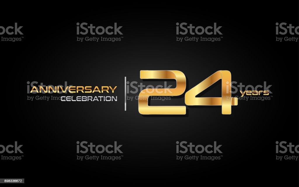 24 Jaar Verjaardag Icontype Met Gouden Getal Geisoleerd Op Zwarte