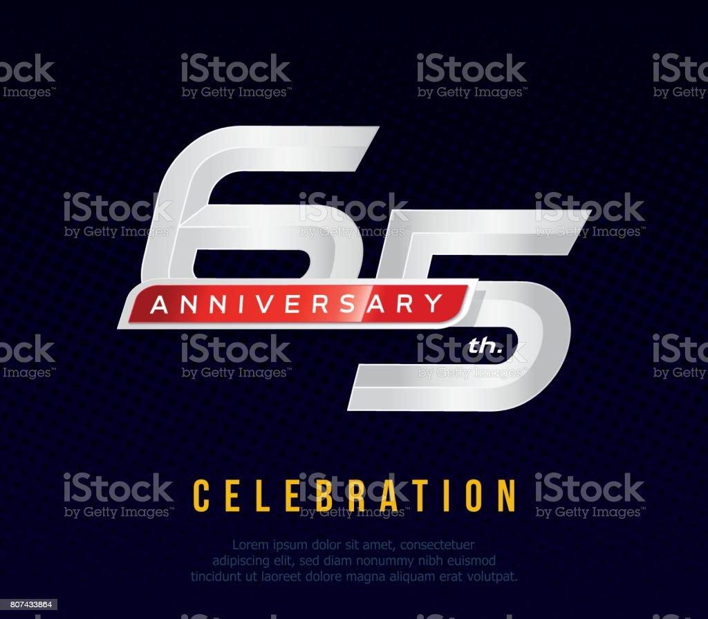65 years anniversary invitation card, celebration template design, 65th. anniversary icon, dark blue background, vector illustration vector art illustration