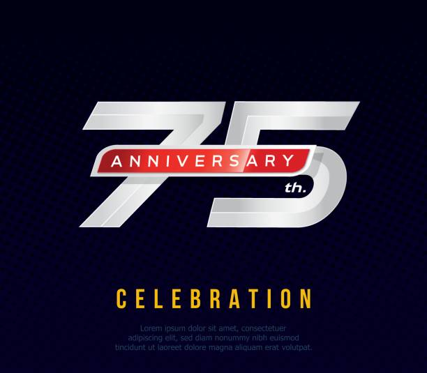 75 years anniversary invitation card, celebration template design, 75th. anniversary icon, dark blue background, vector illustration vector art illustration