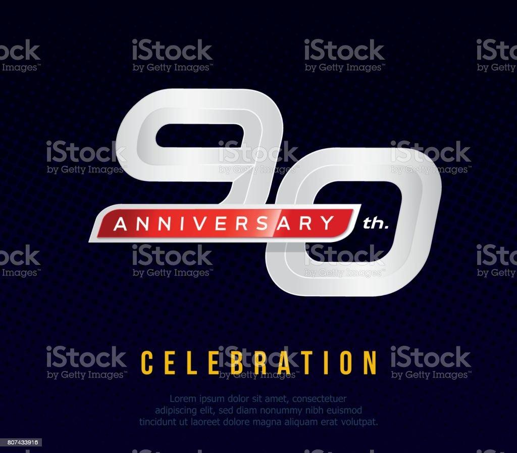 Ilustración De Años 90 Aniversario Tarjeta De Invitación