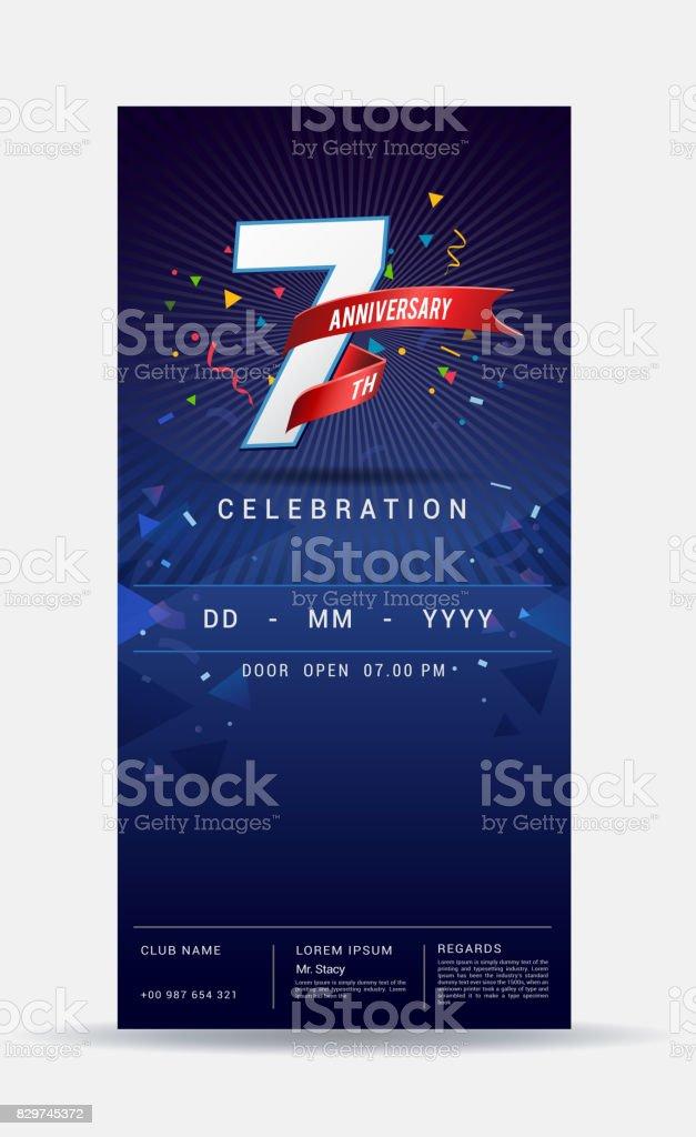 7 years anniversary invitation card - shiny gold celebration template design ,vector illustration vector art illustration