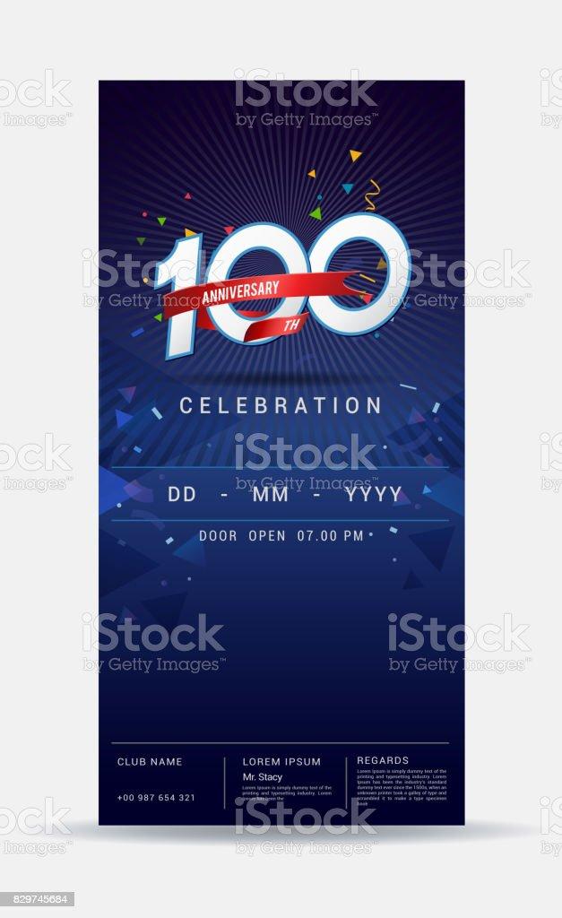 Carte Dinvitation Anniversaire 100 Ans Celebration Or Brillant