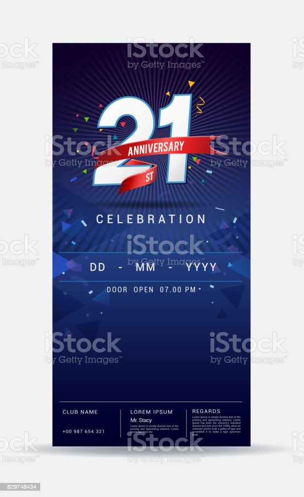 Carte Dinvitation Anniversaire 21 Ans Celebration Or Brillant Modele