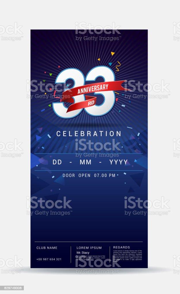 33 Jaar Verjaardag Uitnodigingskaart Glanzend Goud Viering