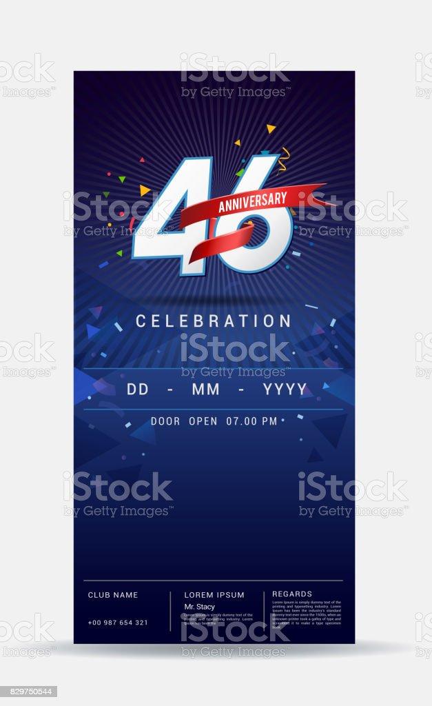 Ilustración De Tarjeta De Invitacion Aniversario De 46 Años Celebración De Oro Brillante Plantilla Diseño Ilustración Vectorial Y Más Vectores Libres