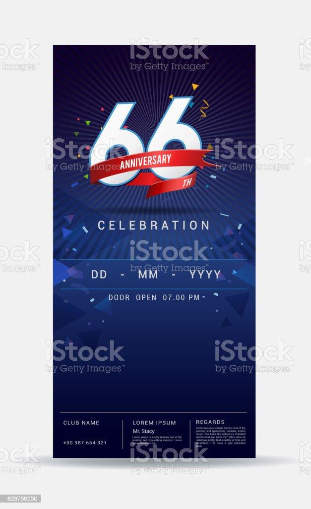 66 Jahre Geburtstag Einladungskarte Glänzend Gold
