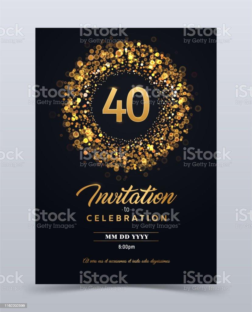 Onwijs 40 Jaar Verjaardag Uitnodiging Kaart Sjabloon Geïsoleerd Vector JT-24