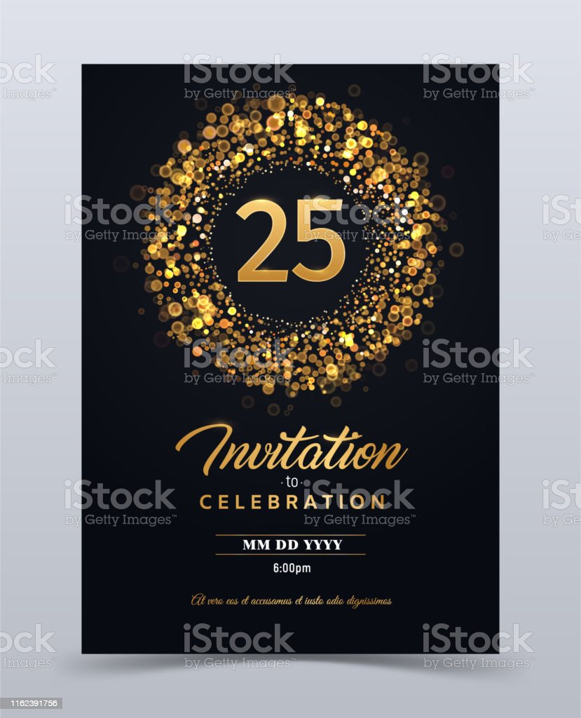25 Years Anniversary Invitation Card Template Isolated
