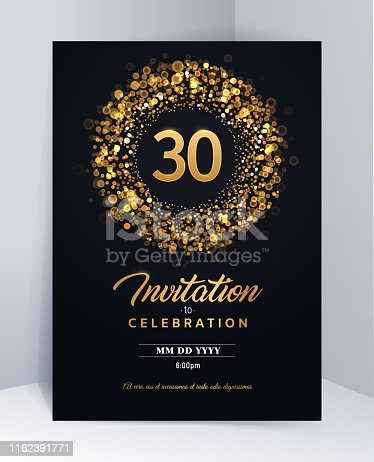 30 years anniversary invitation card template isolated vector illustration Black greeting card template