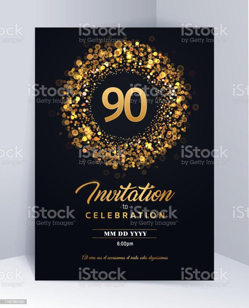 Ilustración De 90 Años De Aniversario Invitación Plantilla