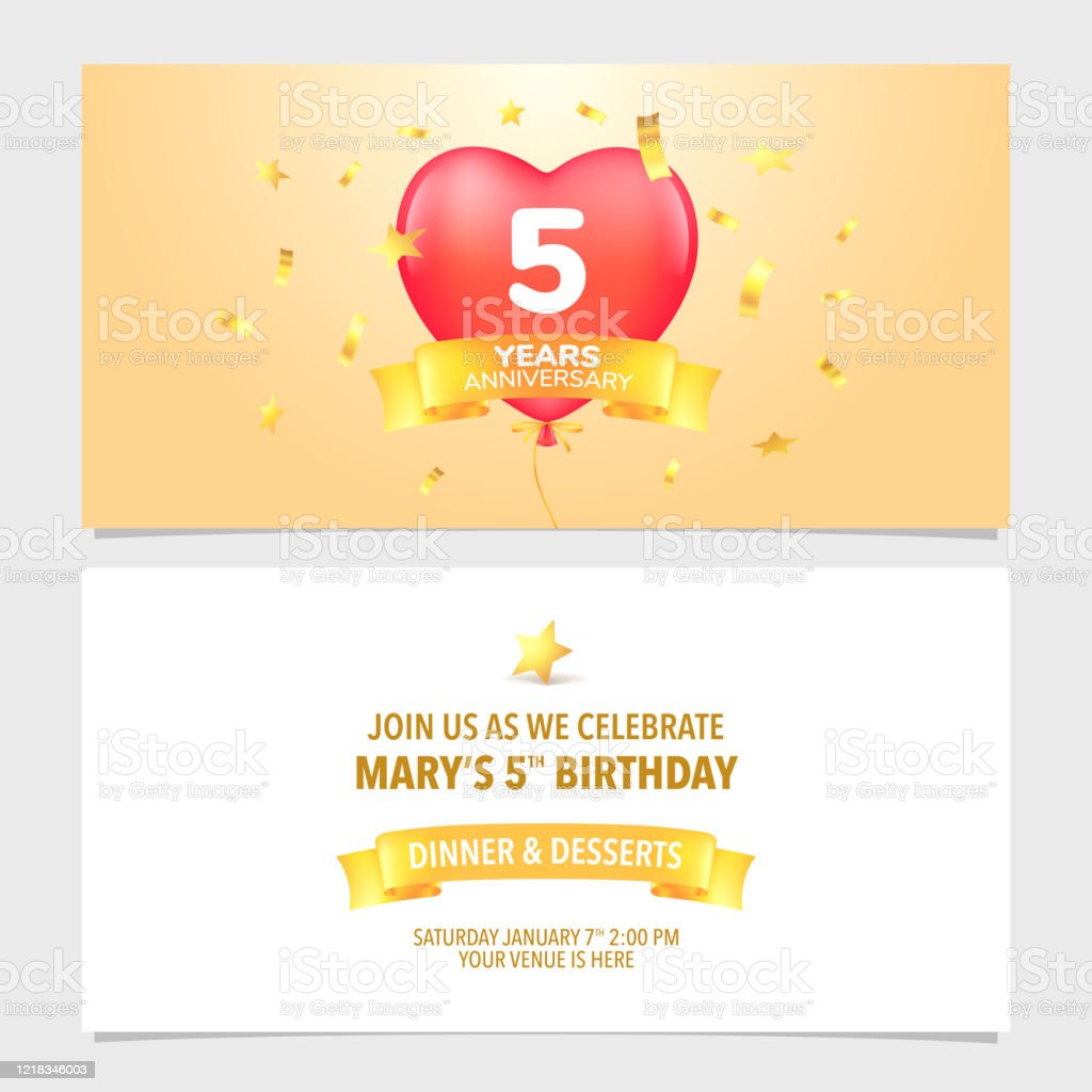 5 Years Anniversary Invitation Card Vector Illustration Design Template  Element Stock Illustration - Download Image Now - iStock