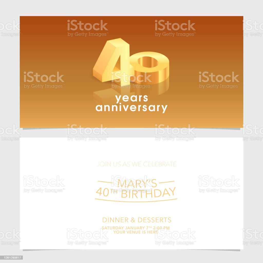 40 Years Anniversary Invitation Card Vector Illustration Design Template  Element Stock Illustration - Download Image Now - iStock