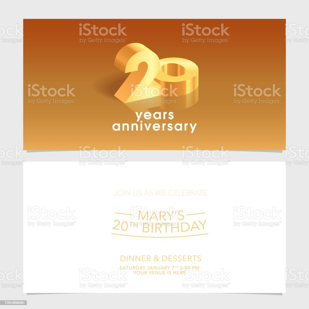 20 Years Anniversary Invitation Card Vector Illustration Design Template  Element Stock Illustration - Download Image Now - iStock