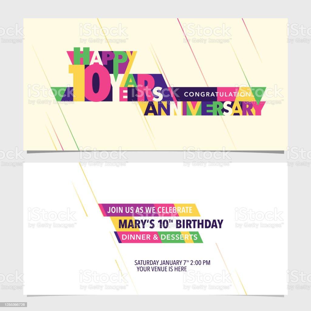 10 Years Anniversary Invitation Card Vector Illustration Design Stock  Illustration - Download Image Now - iStock