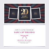 20 years anniversary invitation vector illustration. Graphic design element with photo frame collage for 20th birthday card, party invite