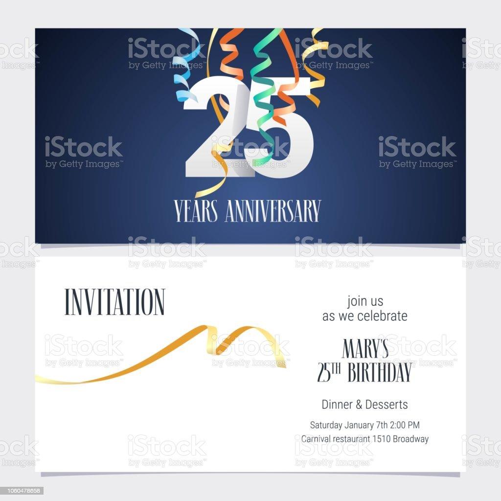 25 Jahre Jubiläum Einladung Vektor – Vektorgrafik