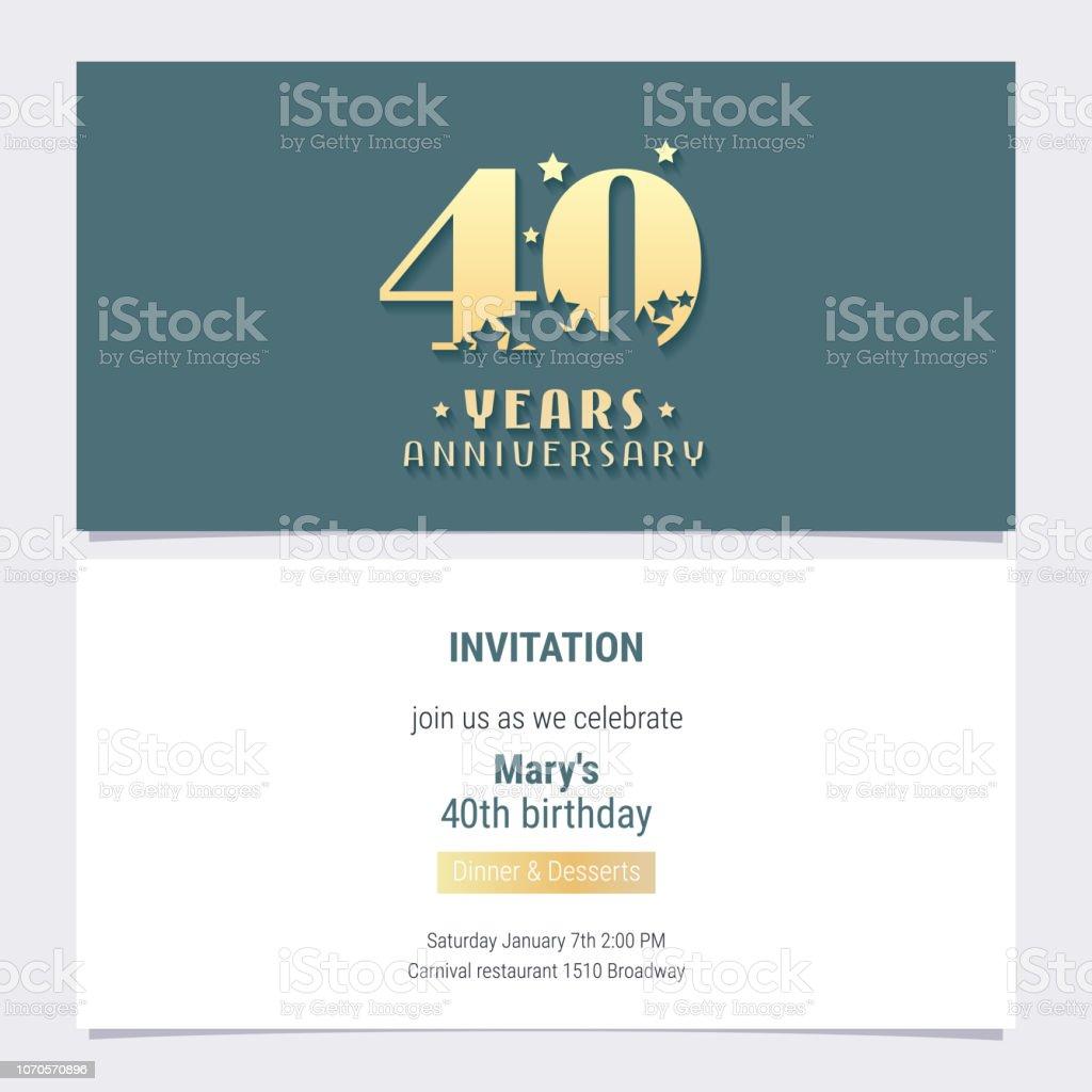 Vecteur Dinvitation Anniversaire 40 Ans Vecteurs Libres De Droits Et