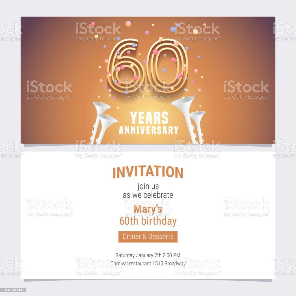 Vecteur Dinvitation Anniversaire 60 Ans Vecteurs Libres De Droits Et Plus D Images Vectorielles De Affaires Istock