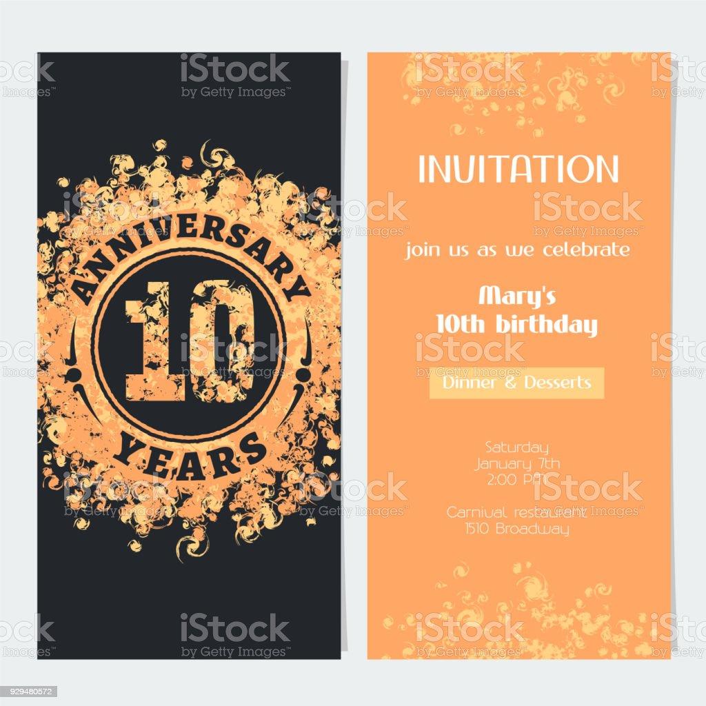 10 Jaar Verjaardag Uitnodiging Vector Stockvectorkunst En Meer