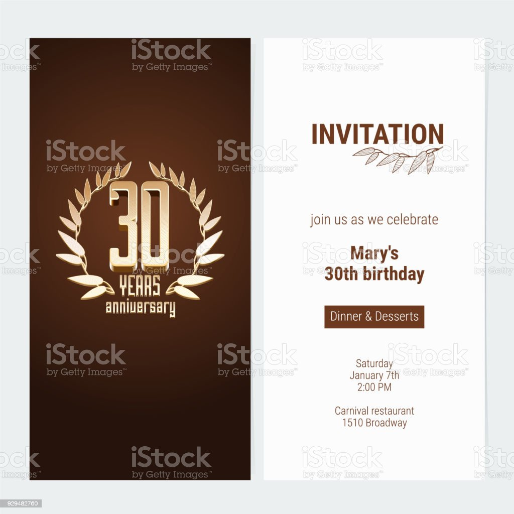 30 years anniversary invitation vector stock vector art more 30 years anniversary invitation vector royalty free 30 years anniversary invitation vector stock vector art stopboris Choice Image