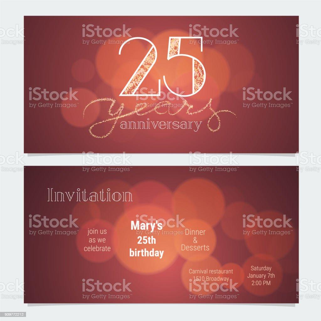 25 Years Anniversary Invitation Vector