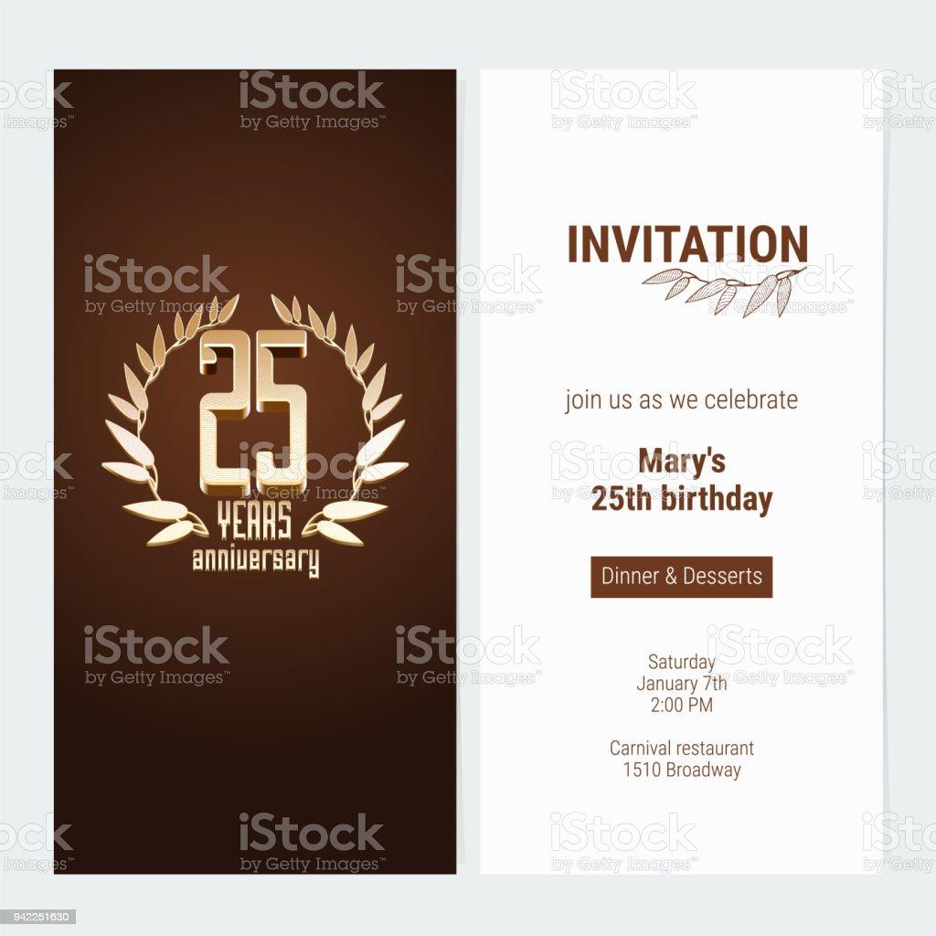 25 years anniversary invitation vector arte vetorial de stock e 25 years anniversary invitation vector 25 years anniversary invitation vector arte vetorial de stock e stopboris Image collections