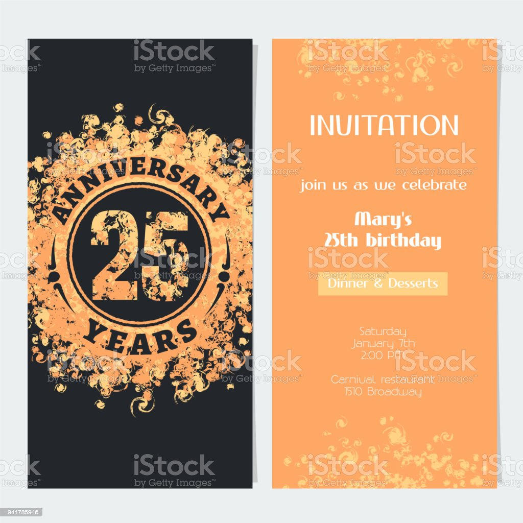 25 years anniversary invitation vector stock vector art more 25 years anniversary invitation vector royalty free 25 years anniversary invitation vector stock vector art stopboris Image collections