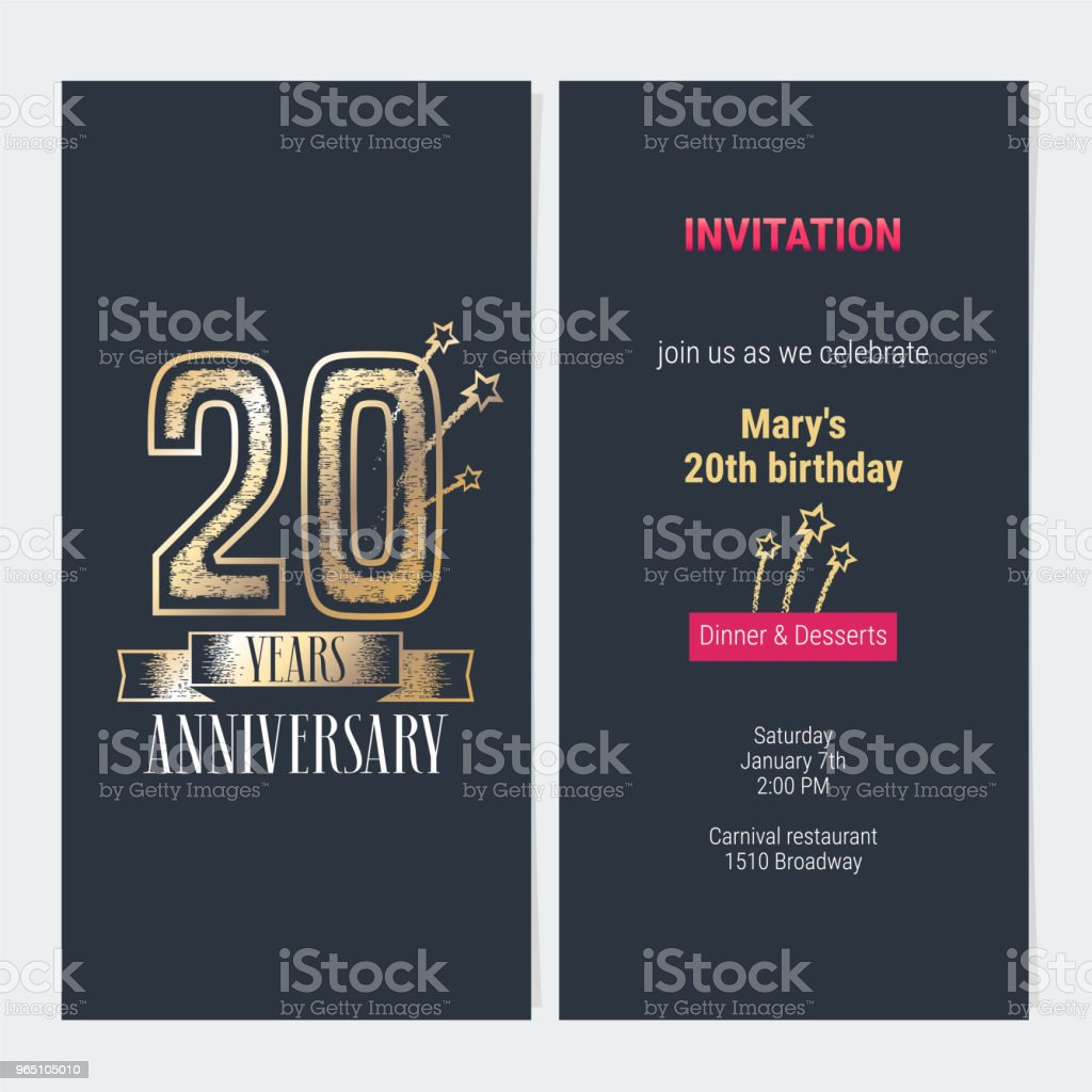 20 years anniversary invitation vector royalty-free 20 years anniversary invitation vector stock vector art & more images of anniversary