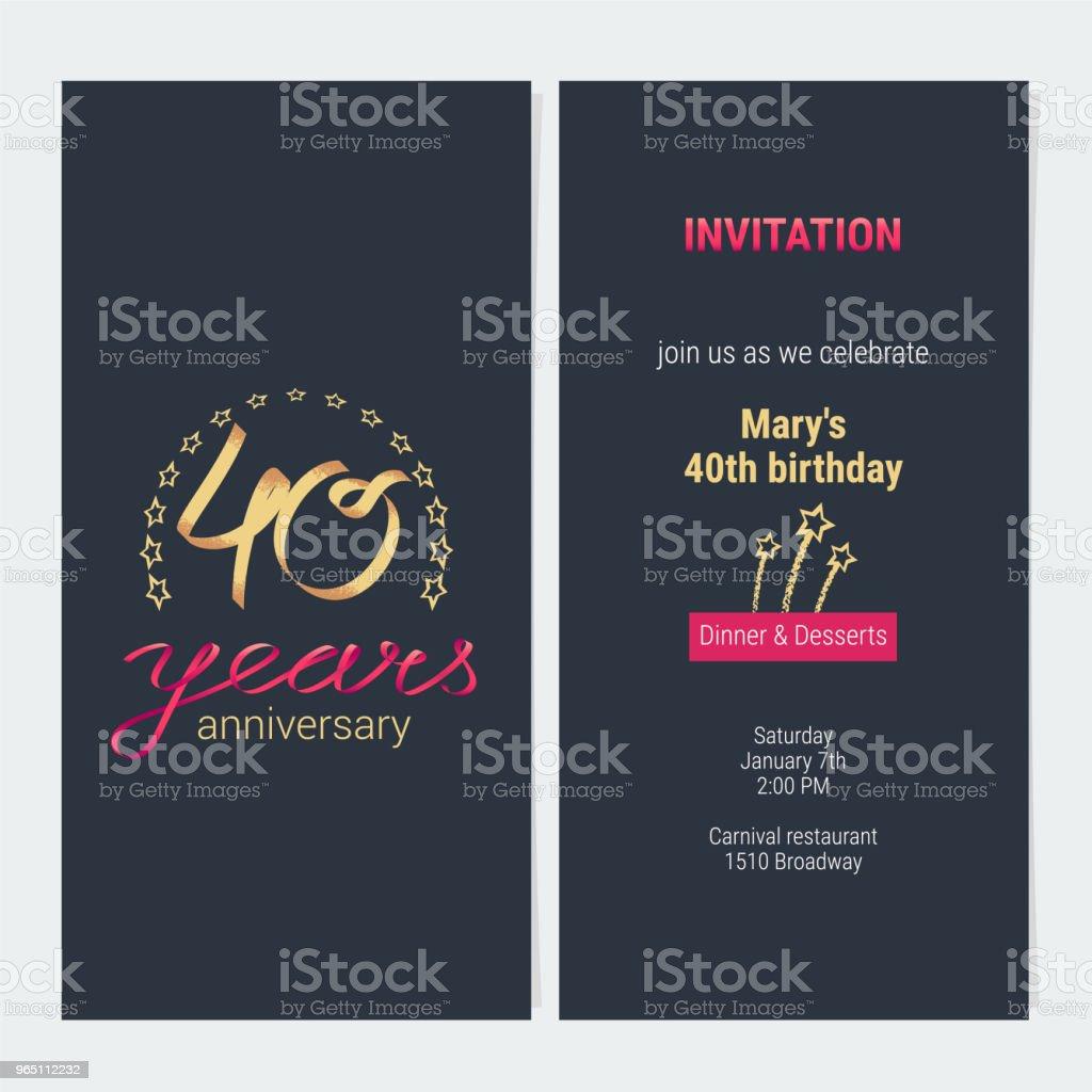 40 years anniversary invitation vector 40 years anniversary invitation vector - stockowe grafiki wektorowe i więcej obrazów ceremonia royalty-free