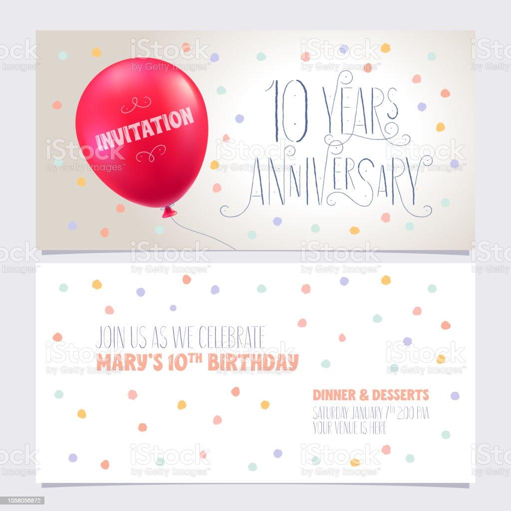 10 Jaar Verjaardag Uitnodigen Vectorillustratie Stockvectorkunst En