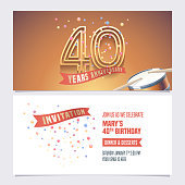 40 years anniversary invite vector illustration. Design element for 40th birthday card, party invitation with festive background