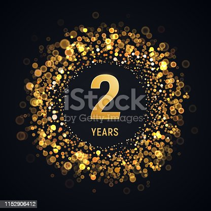 2 years anniversary isolated vector design element Two birthday with blurred light effect on dark background