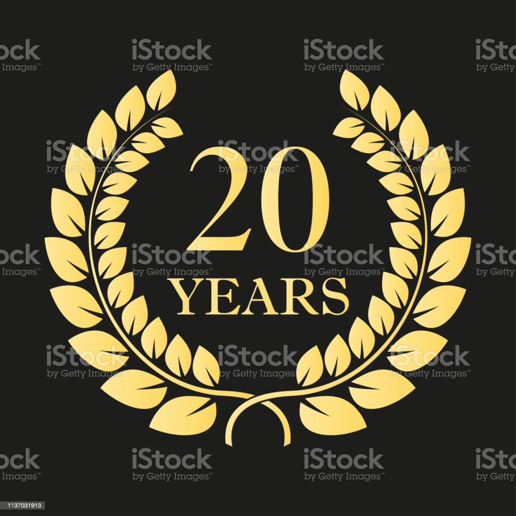 20 Years Anniversary Laurel Wreath Icon Or Sign Template For Celebration And Congratulation Design 20th Anniversary Golden Label Vector Illustration Stock Illustration Download Image Now Istock