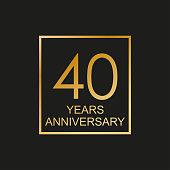 40 years anniversary logo. 40th anniversary celebration label. Design element or banner for birthday, invitation, wedding jubilee. Vector illustration.