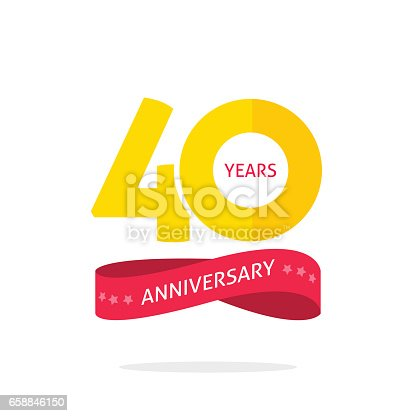40 years anniversary logo template isolated on white, 40th anniversary icon label with ribbon, forty year birthday symbol isolated on white background