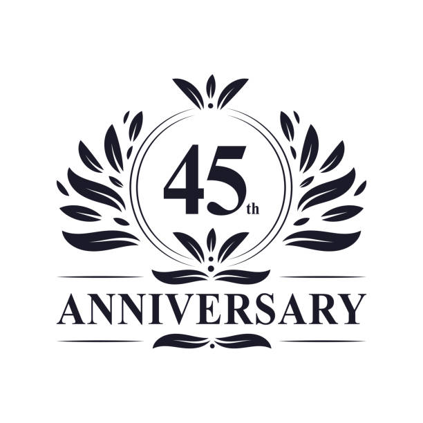 45 years anniversary logo 45th anniversary 45 years Anniversary logo, luxurious 45th Anniversary design celebration. greeting card with the 45th anniversary stock illustrations