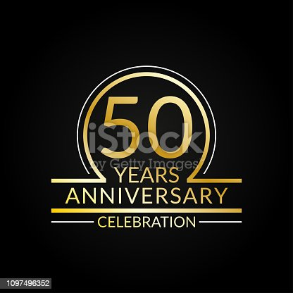 50 years anniversary logo. 50th Birthday celebration icon. Party invitation, Jubilee celebrating emblem or banner. Vector illustration.