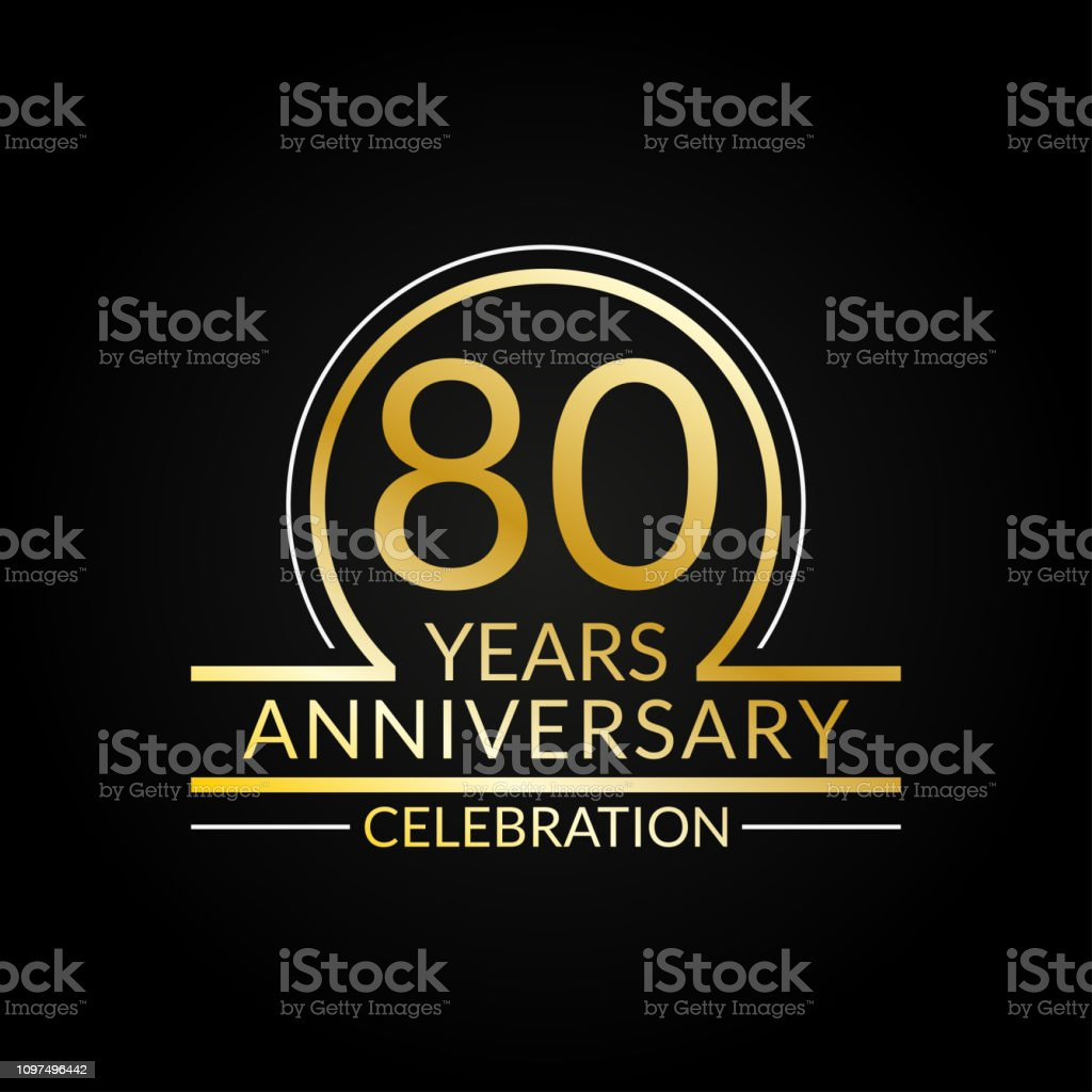 80 Years Anniversary Logo 80th Birthday Celebration Icon Party Invitation  Jubilee Celebrating Emblem Or Banner Vector Illustration Stock Illustration  - Download Image Now - iStock