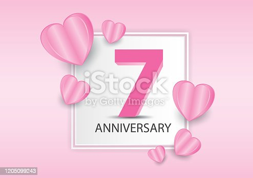 istock 7 Years Anniversary Logo Celebration With heart background. Valentine's Day Anniversary banner vector template 1205099243